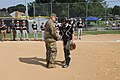 COL Ray Compton and CSM Snyder throw out the first pitch (36048116066).jpg