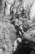 A soldier wearing a slouch hat stands in a trench on the side of a hill, while other soldiers move in the background amidst the trees. In the bottom of the trench is the body of another soldier