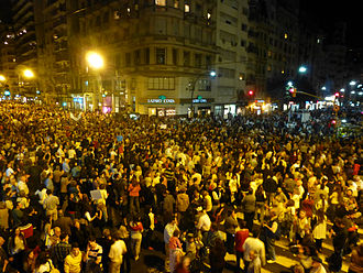 September 2012 cacerolazo in Argentina - Demonstration at Santa Fe and Callao streets, Buenos Aires