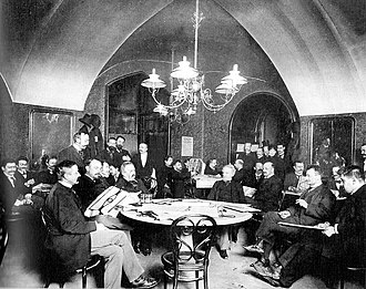"""The World of Yesterday - Café Griensteidl in Vienna, sometime before 1897. Zweig referred to it as the """"headquarters of young literature."""""""