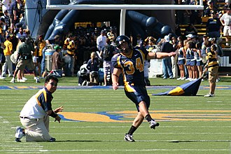 2007 California Golden Bears football team - Cal kicker Jordan Kay warming up for the game.
