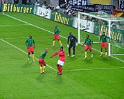 Cameroon faces Germany at Zentralstadion in Leipzig, 27 April 2003.
