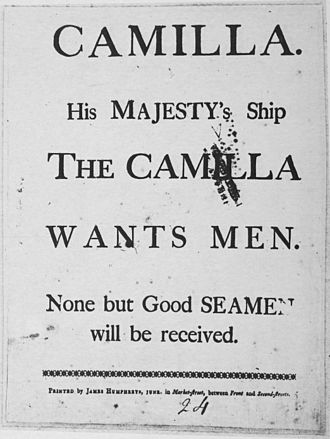 HMS Camilla (1776) - Recruiting poster from 1778 for Camilla