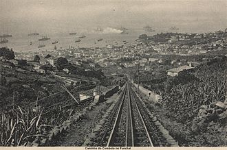 Monte (Funchal) - The cog railway vista, looking down to the harbour of Funchal, showing the commercial ships in the harbour