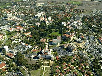 University of California, Irvine - UCI's core campus and surrounding areas. Aldrich Park is in the center.
