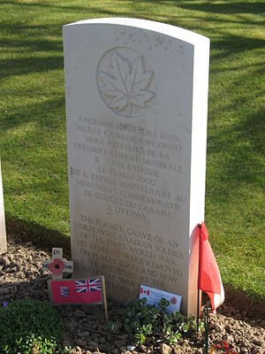 Canadian Tomb of the Unknown Soldier - The stone at the original grave site of Canada's unknown soldier at Cabaret Rouge Cemetery near Souchez, France
