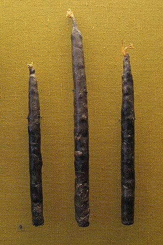 History of candle making - The oldest surviving bees wax candles north of the Alps from the alamannic graveyard of Oberflacht, Germany dating to 6th/7th century A.D.