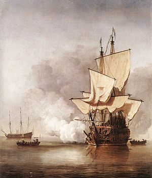 The Cannon Shot by Willem van der Velde, showing a 17th century Dutch ship of the line