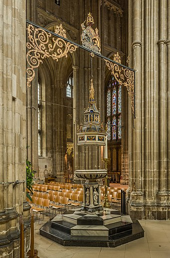 The decorative font in the nave Canterbury Cathedral font, Kent, UK - Diliff.jpg