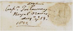 Edward John Trelawny - Copy of an 1822 signature of Edward John Trelawny indicating he was a captain.