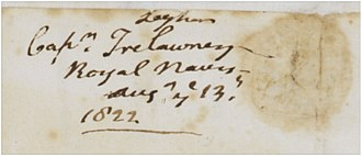 Edward John Trelawny - Copy of an 1822 signature of Edward John Trelawny indicating he was a captain.