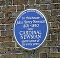 Cardinal Newman blue plaque - zoomed.jpg