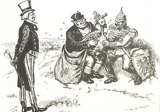 History of Venezuela (1830–1908) - Caricature of Cipriano Castro, by W.A. Rogers, published in the New York Herald, January, 1903. Castro is shown as a thin goose being plucked bare by Britain and Germany, while Uncle Sam looks on.