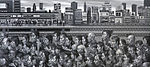 Monochrome painting of Shinjuku station commuters