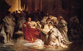 La Mort de César   par Karl von Piloty« Métellus lui découvrit le haut de l'épaule ; c'était le signal. Casca le frappa le premier de son épée » (Plutarque)