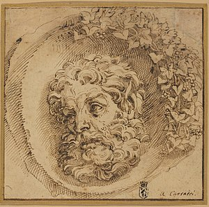 Agostino Carracci - Head of a Faun (c. 1595) 181 × 187 mm  Pen and brown ink on laid paper National Gallery of Art, Washington