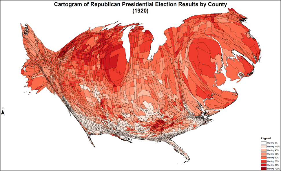 CartogramRepublicanPresidentialCounty1920Colorbrewer