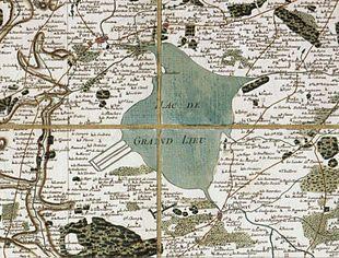 Carte manuscrite ancienne du lac, portant de nombreuses indications de noms de lieux.