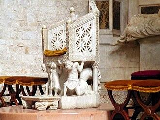Basilica di San Nicola - The Cathedra of Bishop Elias.
