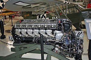 Rolls-Royce Merlin - Preserved Merlin 63 showing intercooler radiator, supercharger and carburettor