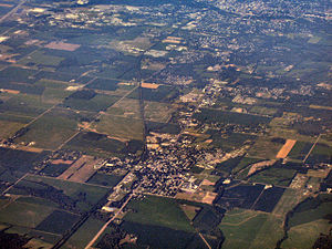 Centerville, Indiana - Centerville from the air, looking east toward Richmond