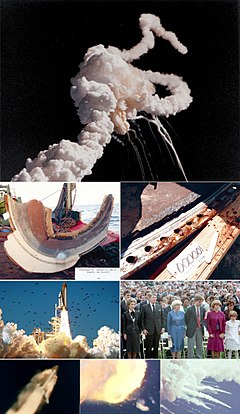 A montage of several stages of the shuttle's preparation, flight, and explosion