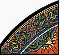 Chartres VITRAIL DE LA VIE DE JÉSUS-CHRIST Motiv 28 sommet de la fenêtre figure de la Sainte Vierge tenant son Fils sur ses genoux.jpg