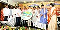 Chaudhary Birender Singh and the Chief Minister of Andhra Pradesh, Shri N. Chandrababu Naidu launching the 'Panta Sanjeevani' CD, at the 'National Meeting of Tribal Women Gram Panchayat Presidents from Fifth Schedule Areas'.jpg