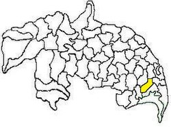 Mandal map of Guntur district showing Cherukupalle mandal (in yellow)