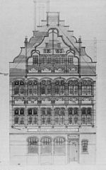 A drawing of the front of a three-storey building with an attic.  The ground floor has four windows and a door; the middle and upper storeys contain a series of arched windows in pairs; the gable is shaped and contains more windows and the date 1883.