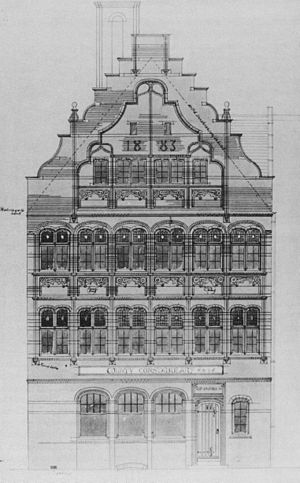 142 Foregate Street, Chester - Architect's drawing 1884