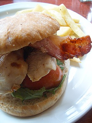 Chicken sandwich - A chicken burger with bacon