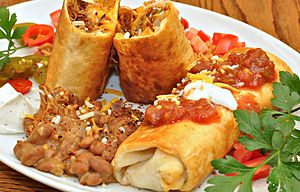 Texan cuisine - Chimichangas with pintos
