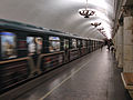 Chitayashaya Moskva (Reading Moscow) train at Paveletskaya-koltsevaya station (Метропоезд Читающая Москва на станции Павелецкая-кольцевая) (4804982572).jpg