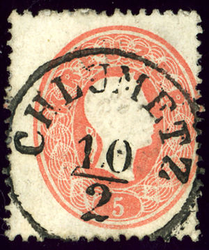 Chlumec nad Cidlinou - Austrian KK stamp, issue 1861, with the German name CHLUMETZ