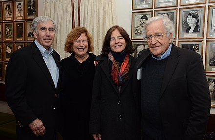 Chomsky (far right) and his wife Valeria (second from right) with David and Carolee Krieger of the Nuclear Age Peace Foundation, 2014 Chomsky and others.jpg