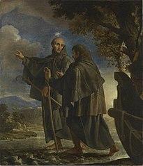 Der hl. Petrus von Alcántara wandelt über den Fluss Quadiana