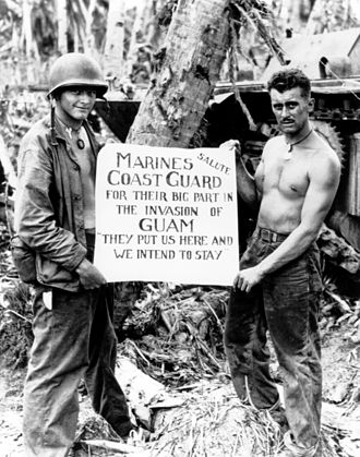Battle of Guam (1944) - U.S. Marines show their appreciation to the Coast Guard.