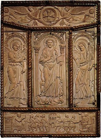Carolingian art - Lorsch Gospels. Ivory book cover. Late Antiquity Imperial scenes adapted to a Christian theme.