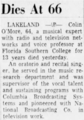 Colin O'More (1890-1956) obituary in the Orlando Sentinel on September 22, 1956.png