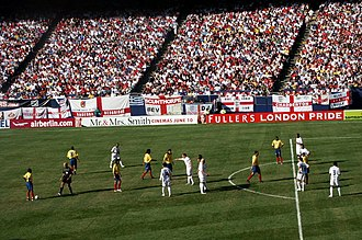 Football in Colombia - The Colombia national football team playing against England in 2005.