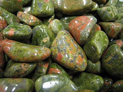 Colored minerals closeup