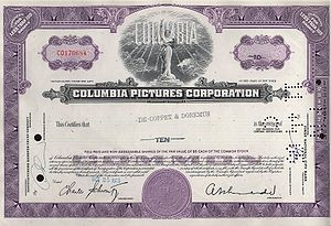 Columbia Pictures - Stock certificate in 1965