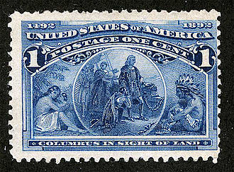 "Rodrigo de Triana - ""Columbus in Sight of Land"", depicted in the 1¢ Columbian post stamp"