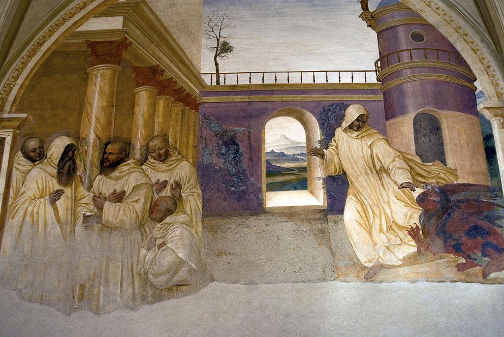 Come Benedetto perdona al monaco che volendo fuggire dal monastero trova uno serpente nella via