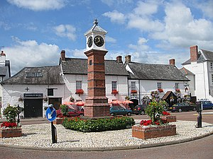 Usk - Image: Commemorative town clock, Usk geograph.org.uk 1425897