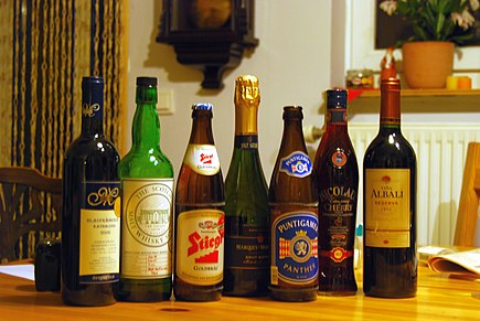 A selection of alcoholic drinks: red wine, malt whisky, lager, sparkling wine, lager, cherry liqueur and red wine Interesting alcoholic beverages.jpg