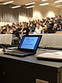 Computer with GNU+Linux in front of students of Turin, Italy.jpg