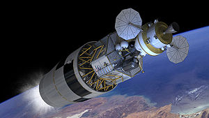 Trans-lunar injection - Artist's concept of NASA's Constellation stack performing the trans-lunar injection burn