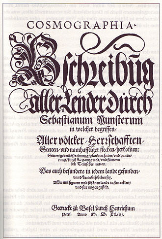 Cosmographia (Sebastian Münster) - Title-page of first edition, printed in Basel by Heinrich Petri
